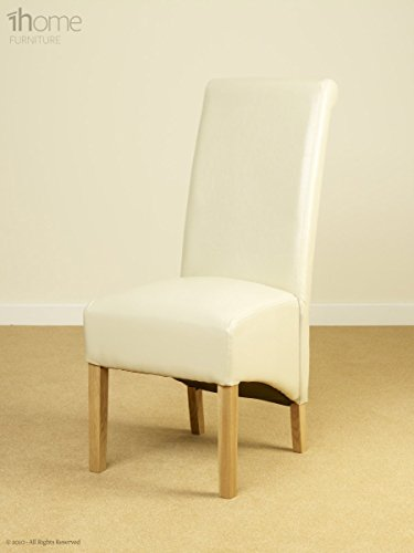 1home Leather Dining Chairs Scroll High Top Back Oak Legs Furniture 1 Pair Ivory
