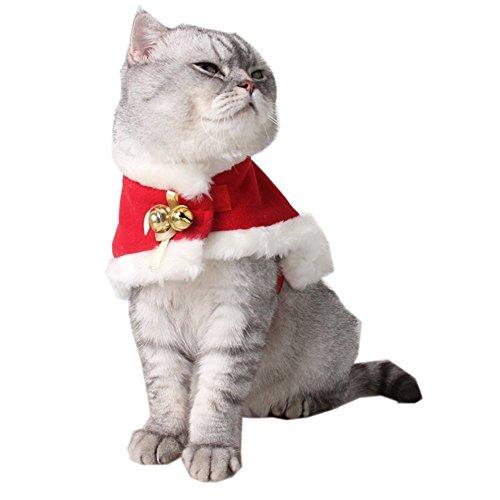 ANPI Katze Kostüm, Weihnachten Pet Warm Red Velvet Mantel Pet Cape Pet Bekleidung für kleine Hunde und Katzen (S)