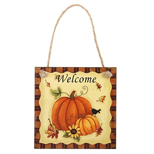 zum Aufhängen Dekoration Holz Schild zum Aufhängen Kürbis Welcome Sign Happy Harvest Sign Thanksgiving Tür Kleiderbügel Home Outdoor Thanksgiving Dekorationen ()