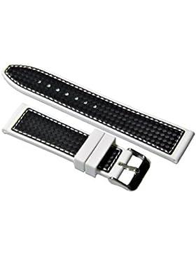 Premium Silikon Uhrenarmband 20-22-24mm Carbon Optik Weiß mit Weiße Naht Armband 22mm