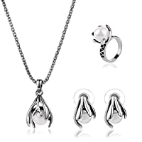 Imixlot Retro Bead Alloy Pendant Necklace Earring Ring Jewelry Sets