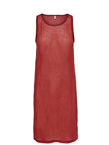 ONLY - Damen loose fit t-shirt babette rib long top Rot