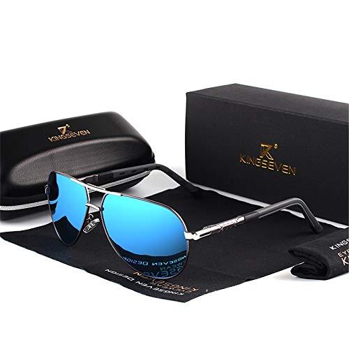 Nan Yin Sonnenbrille Herren Vintage Aluminium Polarisierte Sonnenbrille Klassische Marken Sonnenbrille Beschichtete Linse Driving Shadow Männlich/Weiblich (Lenses Color : GrayFrameBlue)