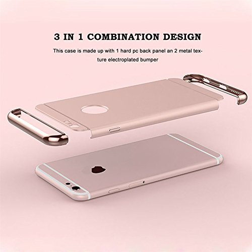 "iPhone 6s Case, iPhone 6 4.7"" Case,Heyqie 3 in 1 Ultra-thin 360 Full Body Anti-Scratch Shockproof Hard PC Non-Slip Skin Smooth Back Cover Case with Electroplate Bumper For Apple iPhone 6 6s 4.7"" - Red Rose Gold"