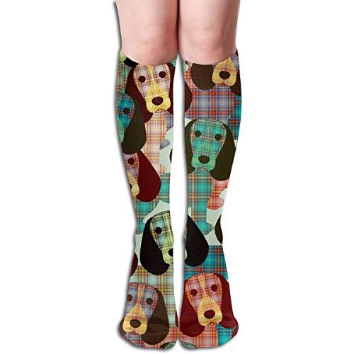 Stocking Beagle Plaid Multi Colorful Patterned Knee High Socks 19.6Inchs ()