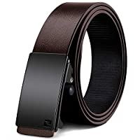 WONDAY Men's Real Leather Ratchet Belt, Casual Dress Belt for Men with Automatic Buckle and Fashion Invisible Belt Tail