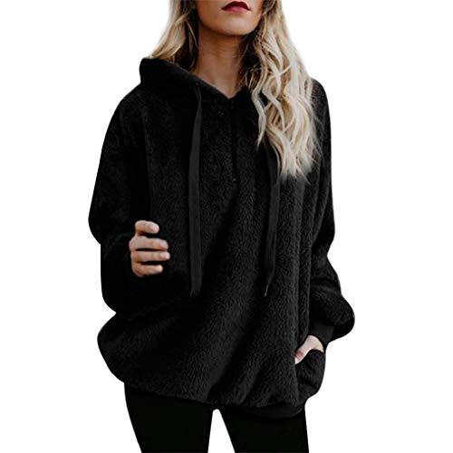 KOKOUK Women Hoodie Ladies Plus Size Long Sleeve Warm-up Faux Fur Zipper Pocket Fleece Hooded Sweatshirt Oversized Coat (A Black)