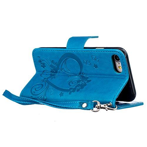 iPhone 5s / iPhone SE Cover Case HuaForCity® Portafogli Custodia in Pelle PU Copertina con Slot per schede Magnetica Flip Chiusura Stile del Libro Supporto Funzione Bumper Caso for iphone 6 Blu