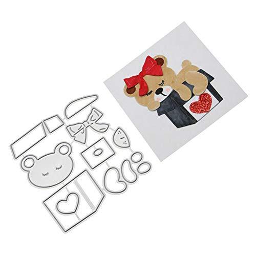 Jiacheng29 Stanzformen, niedlicher Bär, Metall, zum Basteln, Scrapbooking, Prägung für Papierkarten, Album, Schablone (W Groß Halloween-ausstechformen)