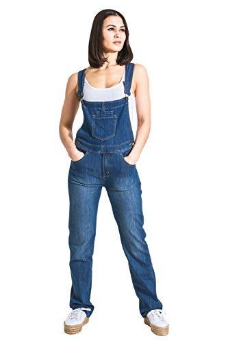Damen-Latzhose Light Wash Blau Denim Jeans-Latzhose Frauen Gr. 46