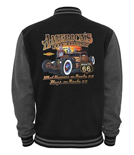 Highway Route 66 Hot Rod (Ethno Designs - Americas Highway 66 - Hot Rod College Jacke für Damen und Herren - Old School Rockabilly Retro Style, black/charcoal, Größe XL)