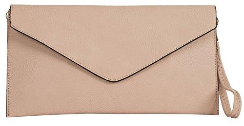 Big Handbag Shop pochette in eco pelle con tracolla lunga Baby Pink