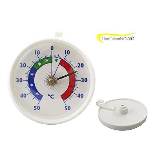 Kühlschrank - Kühlraum - Kühltruhen Thermometer Bimetall Analog . Kühlschrankthermometer Kunststoff mit Haken Temperatur Anzeige -40 bis + 40 °C
