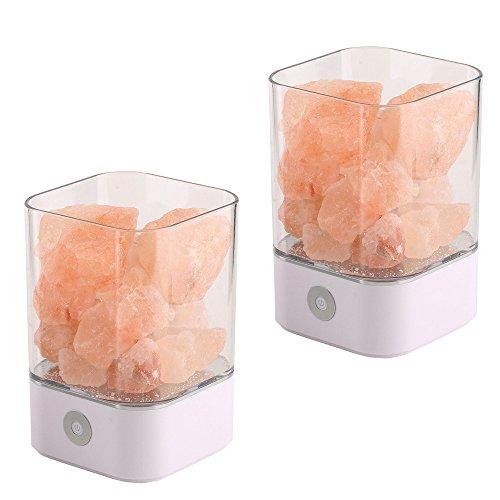 NUZAMAS Set di 2 Lampada a Sali 5W Natural Himalayan Rosa Crystal Therapeutic Rock Minerale 12V USB Light Camera da letto, ufficio, Outdoor, Camping, Lampada Yoga, Multi-Colors (Square White)