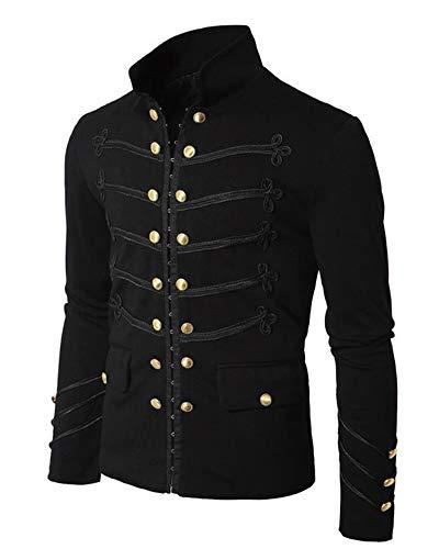 Runyue Chaqueta Gótico para Hombre Medieval Halloween Punk Traje Cosplay Abrigo Negro L