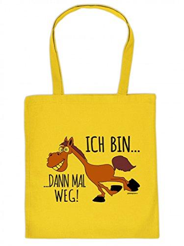 Lustig bedruckte Stofftasche - Ich bin dann mal weg Pferd - Spass - Tasche Baumwolltasche Beutel Tragetasche