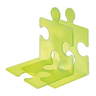 HAN CD-Ständer & Buchstütze PUZZLE SIGNAL 9212-70 in Signal-Grün / Standfester, kombinierbarer Stehsammler in modernem Puzzle-Look / Für CDs, Bücher & DVDs
