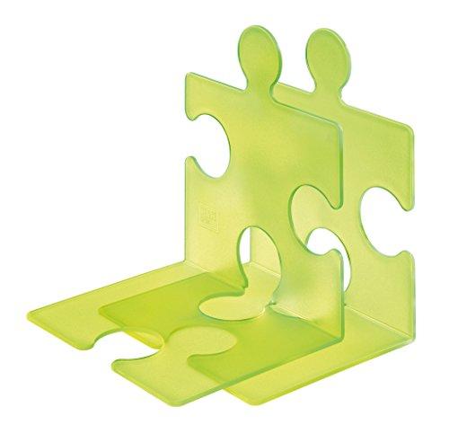 Han 9212-70 - Estantería de soporte de libros y CD diseño de Puzzle, color verde (2 piezas)