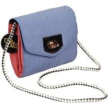 Bleu barbeau Petit Carré sac bandoulière avec bordure rose par Dolly & Daisy