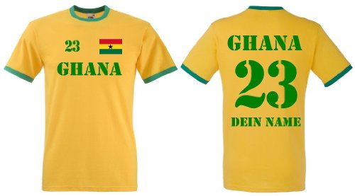 Fruit of the Loom Ghana Herren T-Shirt Retro Trikot mit Wunschname & Nummer|L
