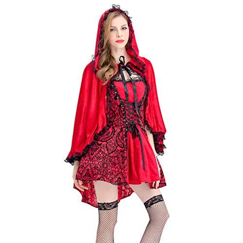 Damen Halloween Kostüm Rotkäppchen Kostüm mit Kleid Unterrock und Umhang mit Kapuze Piebo Erwachsene Kleider für Weihnachten Fest Kostüm Sexy Cosplay Kleid Karneval Verkleidung Party Nachtclub Kostüm (Wald Nymphe Kostüm)