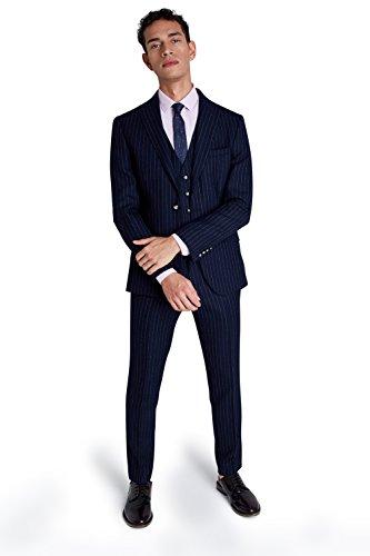 Moss London Herren Skinny Fit Marine Blau Crepe Streifen 2 Teilige Anzug 38R Blau (Marine-streifen-wolle-anzug)