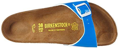 Birkenstock Madrid Birko-Flor, Mules femme Bleu - Blau (Neon Blue Lack)
