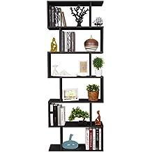 Homfa Estantería librería 6 Estantes Estantería Pared Estantería Libros de diseño ...