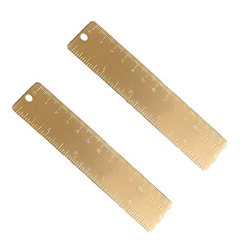 Juland 2PCS Goldmessing Lineal Handliches gerades Lineal Vintage Metall Kupfer Lesezeichen Cm Zoll Dual Scale Graviert 4.72