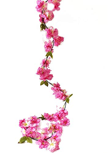 artfen künstlichen Cherry Blossom hängende Girlande Vine Pflanzen Faux Fake Kranz Blume Home Hotel Büro Hochzeit Party Garten Craft Art Decor 5.8 FT rosa - deep pink -