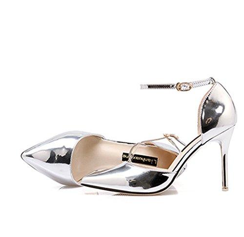 Damen Moderne Pumps Lackleder Stiletto Anti-Rutsch Atmungsaktiv Schnalle Hochzeitschuhe Silber,7CM