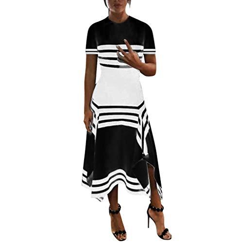 de Streifen Kurzärmliges Kleid mit Unregelmäßiger Saum, Damen Rundhals Tank Rock Sommer Lässiges Lockeres Kleid Strandrock Urlaubsrock Festkleid ()