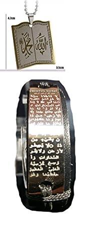 Trendy Coran Coran Allah livre Collier Fashion Collier et pendentif en acier inoxydable pour homme et femme arabe Islam islamique Sura Mohammed
