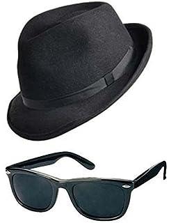 AMERICAN GANGSTER KIT TRILBY HAT BLACK GLASSES TIE FANCY DRESS BLUES BROTHERS