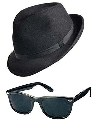 Blues Brothers Hut & Sonnenbrille Modisches Kostüm-set Junggesellen Kostüm Gangster