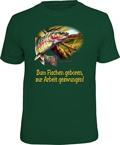 Original RAHMENLOS T-Shirt für Angler und Fischer: Zum Fischen geboren, zur Arbeit gezwungen. Größe XXL, Nr.6882