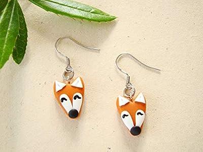Bijoux fimo, boucles d'oreilles renards, animaux, acier inoxydable