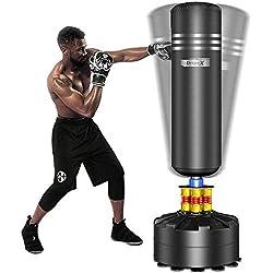 Dripex Sac de Frappe sur Pied Boxe Adulte Debout Libre Robuste Sac de Punching Kick Appareil d'entraînement (Noir, Adult)