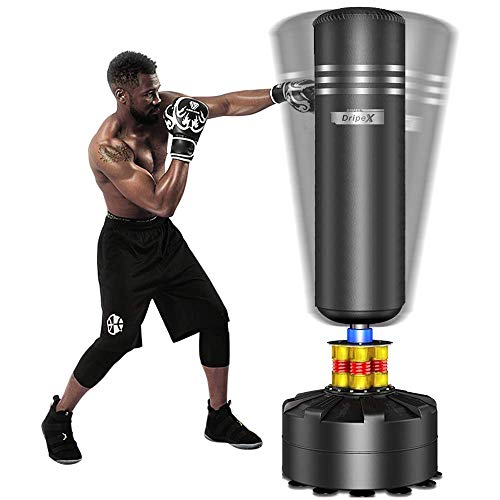 Dripex Boxsack Erwachsene Freistehender Standboxsack MMA Boxpartner Boxing Trainer Heavy Duty Boxsack mit Saugfuß, mehrere Farbe (175cm Schwarz)