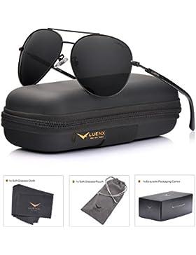 LUENX Uomo occhiali da sole Aviatore Polarizzate di guida con il caso - Protezione UV 400 Specchio HD Lenti metallo...
