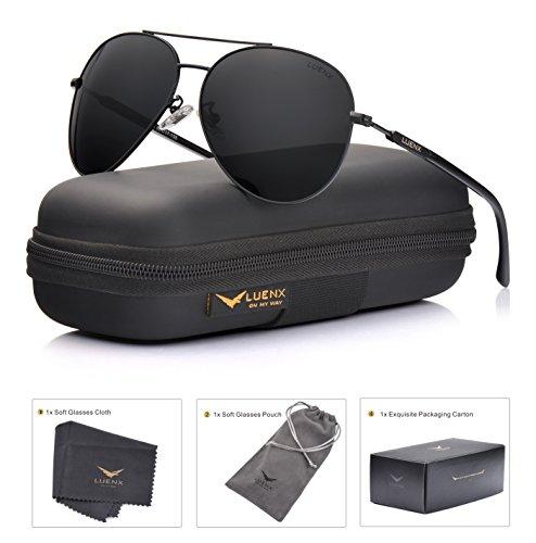 LUENX Sunglasses Polarized for Men & Women with Case - 400 UV Brown Lens Metal Gloss Gold Frame 60mm