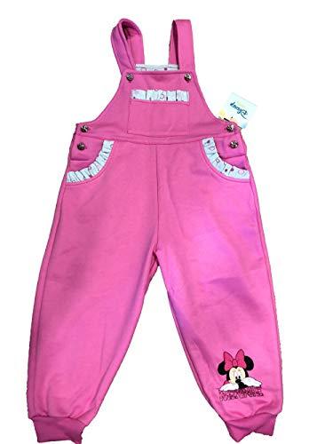Warme und gefütterte Baumwolle Mädchen Baby Latzhose Freizeithose Jogginghose Pumphose in Grösse 80 86 92 98 mit Minnie Mouse Motiv von Disney in Rosa und Grau, tolles Geschenk Farbe Rosa, Größe 98