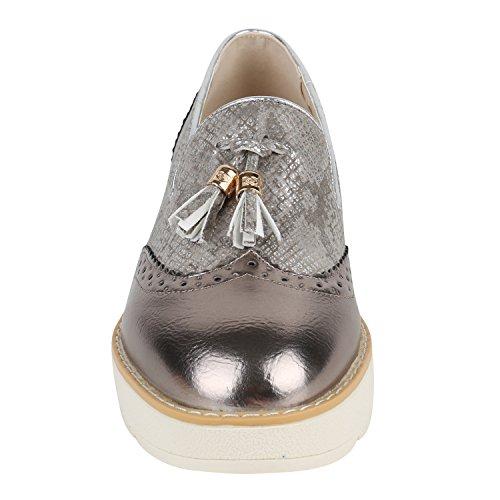 Damen Lack Slipper Loafers Metallic Quasten Schuhe Profilsohle Bronze Creme
