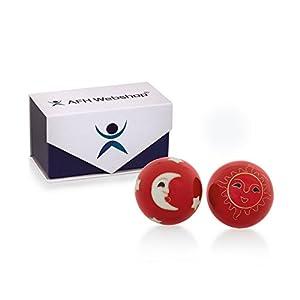 Meditation Qi-Gong-Kugel Paar mit Klangwerk | Klangkugeln | Yin Yan | Design SONNE MOND ROT | mit hochwertiger und wiederverschließbaren Aufbewahrung Magnetbox