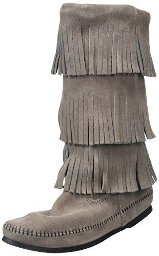Minnetonka Damen Calf Hi 3-Layer Fringe Mokassin Stiefel Grau (Medium GreyMedium Grey)