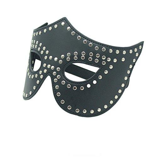 Lieberpaar Masque De Cuir SM Bondage Adultes Halloween Cosplay (Noir)