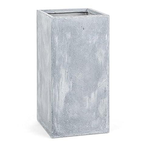 Blumfeldt Solidflor - Bac à fleurs, jardinière cache-pot en fibre de verre style béton (40x80x40cm, résistant au gel) - gris