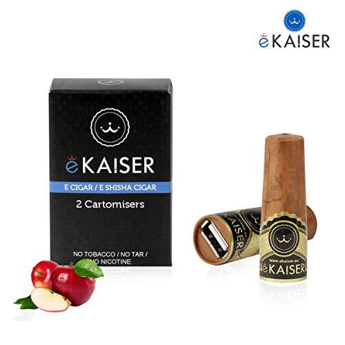 eKaiser Elektronische Zigarre 2er Pack Cartomizer, Apple Flavour, E Zigarre E Shisha Einweg, 30/70 VG/PG Premium-Geschmacksrichtungen, 700 ZÜGE für eKaiser aufladbare Zigarre, Cloud Chaser Vape -