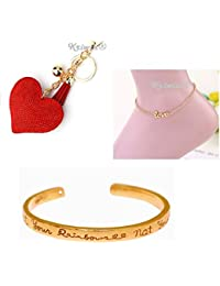 Kriwin® Love Rose Gold Anklet With Soft Glitter Stone Heart Keychain And Gold Plated Quote Engraved Cuff Bracelet...