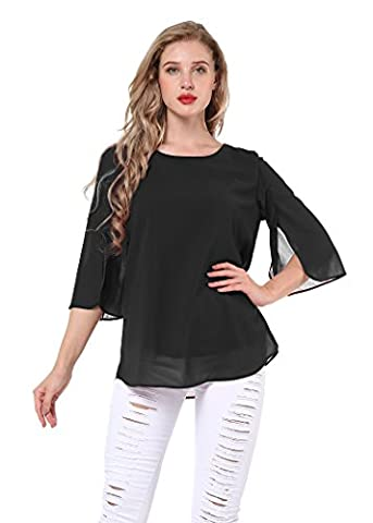 Yidarton Women's Bell Sleeve Chiffon T Shirt Scoop Neck Loose Casual Blouse Tops Black XL